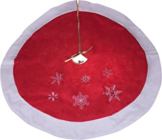 Clever Creations Red and White Snowflake Christmas Tree Skirt Traditional Theme Festive Holiday Design | Tie Closure Skirt Helps Contain Needle and Sap Mess on Floor | 40