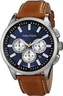 ساعة نوتيكا للرجال N16695G NCT 17 مصقولة ستانلس ستيل بسوار بني
