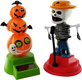 Midwood Brothers Halloween Solar Powered Dancing Toys - Party Day of The Dead Singer and Pumpkin Stack with Ghost(Set of 2)