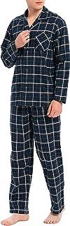 David Archy Men's Cotton Sleepwear PJs V-Neck Lounge Wear Top and Bottom Long Pajamas Set
