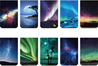 10 Pieces Magnetic Bookmarks Night Sky + Aurora Magnet Page Clips Page Markers Assorted Book Markers Set for Students Read...