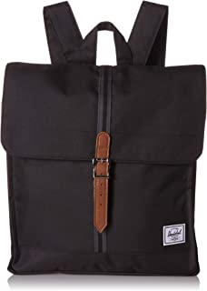 Herschel City Backpack, Black/Black/Tan, Mid-Volume 14.0L