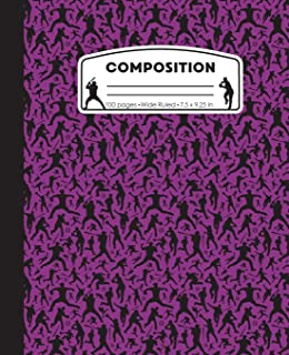 Composition: Baseball Purple Marble Composition Notebook. Ball Player Wide Ruled Book 7.5 x 9.25 in, 100 pages, journal for girls boys, kids, elementary school students and teachers