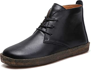 Women Desert Boots Lace up Casual Genuine Leather Chukka Boots Classic Shoe Simple Style Round Toe Flat Ankle Boots Beige Black Brown Size 6 6.5 7 7.5 8 8.5 9 9.5