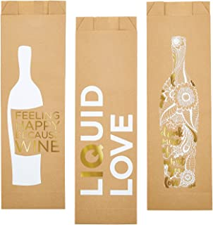 Wine Assorted Kraft 5 x 17 inch Paper Wine Bags Pack of 6