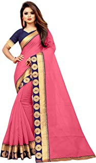 Wazood Women's Chanderi Cotton silk Saree With Blouse