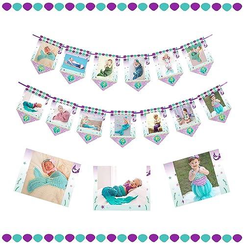 Mermaid Photo Banner Newborn To 12 Months Little Themed Girls First Birthday