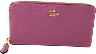 Coach Pebble Leather Accordion Zip Wallet in Rouge F16612