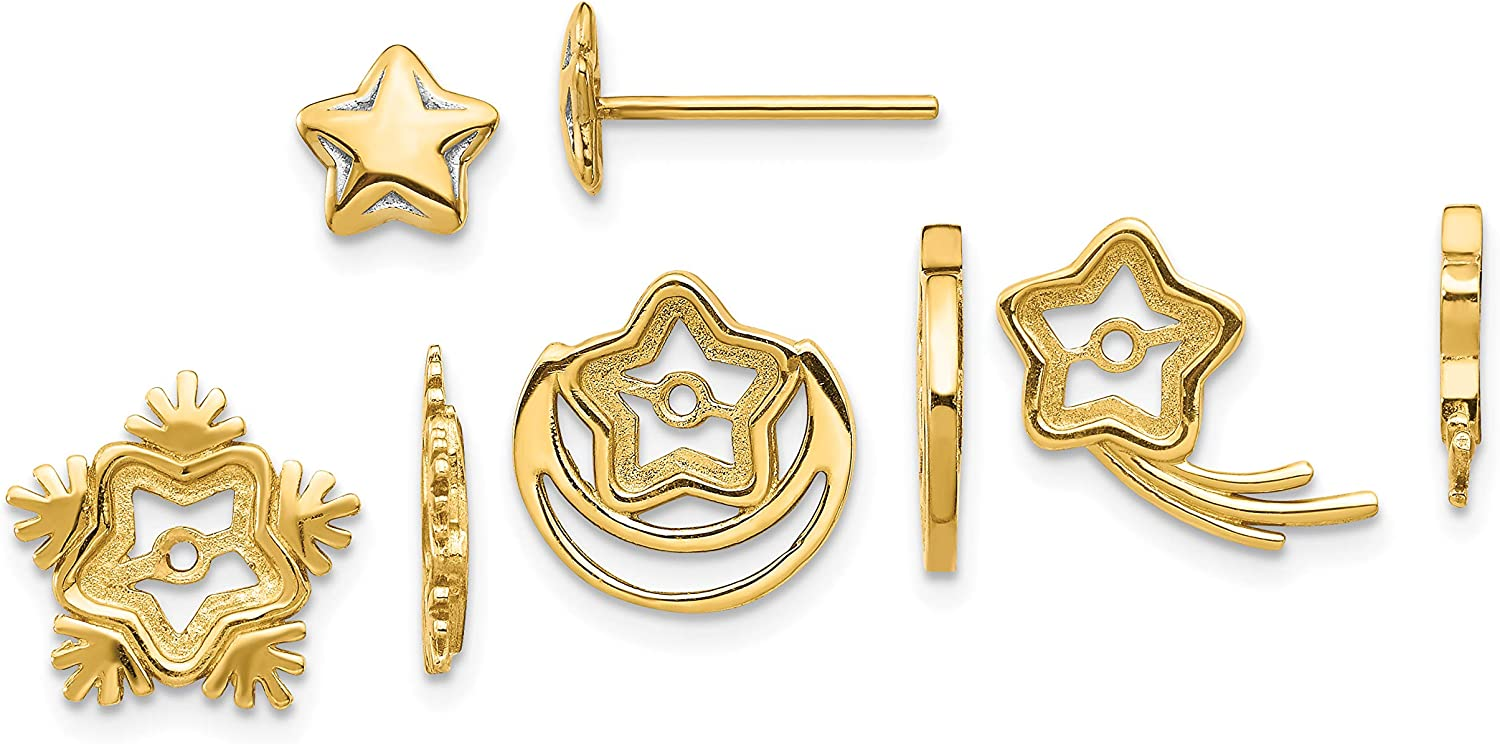 14K Yellow Gold and Rhodium Celestial Post w/Jacket Set Earrings