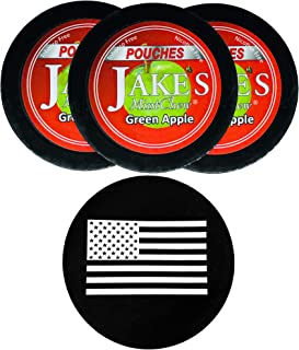 Jake's Mint Chew Green Apple Pouch 3 Cans with DC Crafts Nation Skin Can Cover - US Flag