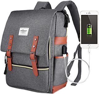 Puersit Laptop Backpack with USB Charging Port 15.6 Laptop Backpack Vintage Canvas Backpack College School Backpack Student Bookbag Casual Daypack Backpack for Women Men Travel Backpack for Teacher