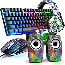Gaming Keyboard and Mouse,5 in 1 Gaming Combo,12W HD Sound Speakers Rainbow LED Backlit Wired Keyboard,2400DPI 6 Button Op...