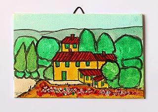 Paesaggio Toscano-Dipinto a mano su cartoncino telato,dimensioni cm 15x10x0,2cm,pronto per essere attaccato alla parete.Ma...