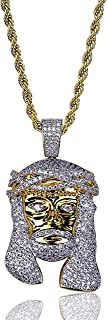 Hiphop Necklace, الهيب هوب مثلج خارج بلينغ يسوع رئيس قلادة 18 كيلو الذهب مطلي سلسلة قلادة للرجال النساء