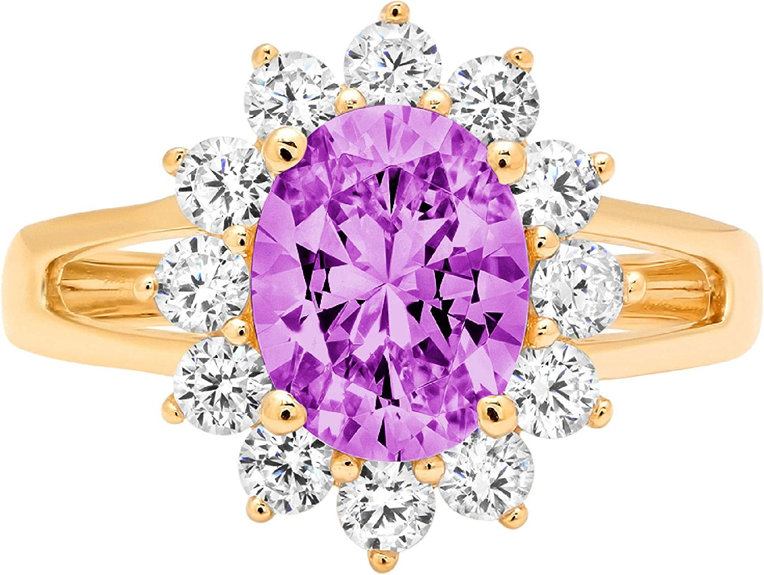 2.36ct Brilliant Oval Cut Solitaire with Accent Halo Flawless Simulated Purple Alexandrite Ideal Engagement Promise Anniversary Bridal Wedding Designer Ring 14k Yellow Gold