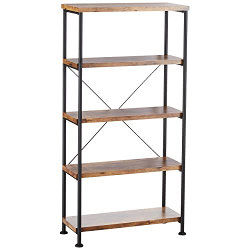 57247f08b1 Glavan Small Wood and Metal Open Bookcase Antique Nutmeg and Black