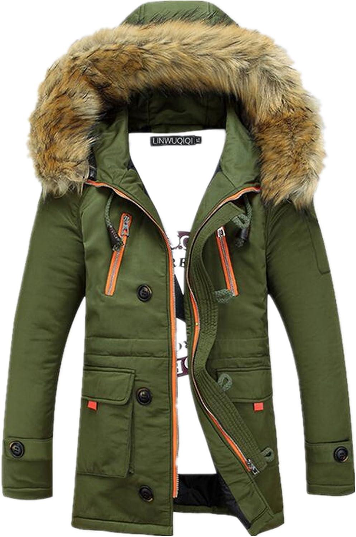 Allonly Men's Fashion Fur Hoodie Coat Cotton Couple Overcoat Windbreaker Jacket