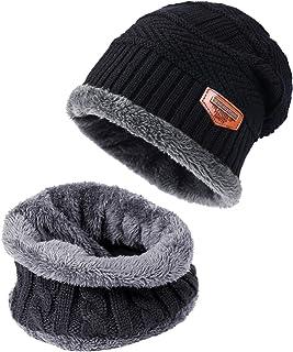 5ea62f6e36541 TAGVO Bonnet Chapeau Écharpe d'hiver 2Pcs Ensemble Doublure Molleton  Polaire Doux, Beanie Cap