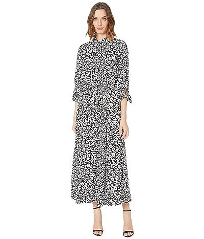 Calvin Klein Long Sleeve Floral Print Shirtdress Maxi (Black/Cream) Women