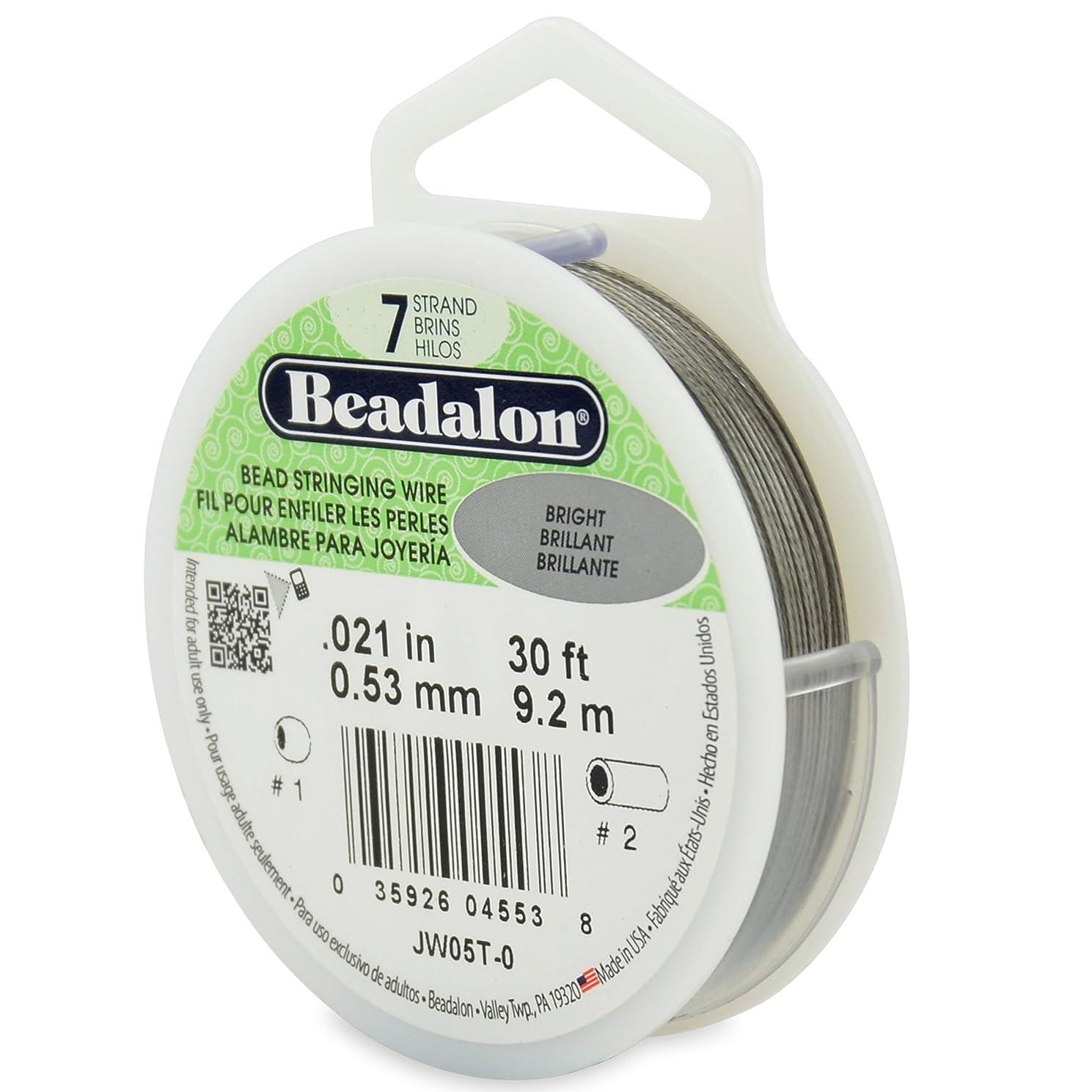 Beadalon 30-Feet 7-Strand Stainless Steel Bead Stringing Wire, 0.021-Inch, Bright