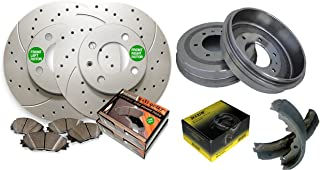 Front Drilled & Slotted Geomet Coated Rotors and Premium Ceramic Pads featuring Tripple Layer Wolverine Shims & Rear OE Spec Quiet Technology Drums and Perfect Fit Premium Brake Shoes BK40369DS   Fits