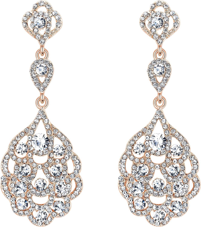 BriLove Women's Wedding Bridal Crystal Rhinestone Beaded Clip-On Dangle Earrings