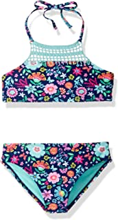 Angel Beach Big Girls High Neck Bikini Swim Set with Crochet