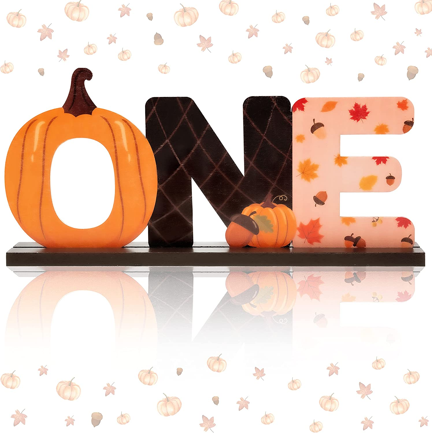 BeYumi Pumpkin ONE Letter Sign Wooden Table Centerpieces Halloween Thanksgiving Party Decor for Kids Autumn Fall Party Little Pumpkin Theme 1st Birthday Milestone Baby Shower Cake Smash Photo Prop