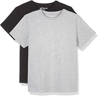 Kid Nation Kids Unisex 2 Packs 100% Cotton Tagless Short Sleeve Jersey Crewneck T Shirts for Boys and Girls 4-12 Years