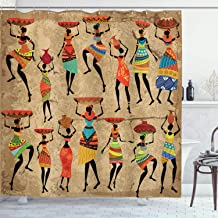 Ambesonne African Shower Curtain, Woman Silhouettes with Traditional Clothes Carrying Bowls on Head, Cloth Fabric Bathroom Decor Set with Hooks, 70
