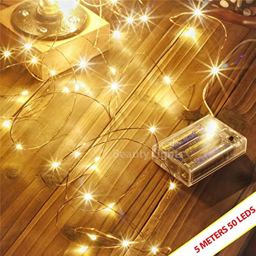 LTETTES Copper String Lights 3 AA Battery Operated Portable LED Fairy Decoration