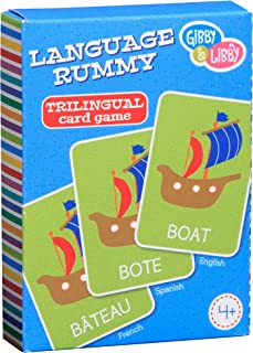 C.R. Gibson Fun Learning Language Rummy Card Game for Kids, Spanish to English to French