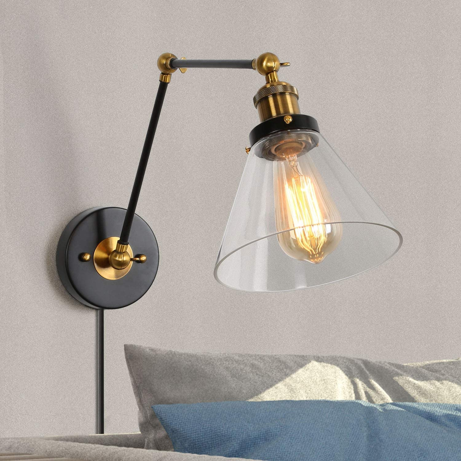 Swing Arm Wall Sconce Plug-in or Hardwire Lamp Lighting wi Free shipping New 5% OFF