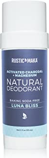 Rustic MAKA Natural Deodorant, Luna Bliss, Baking Soda-Free, Activated Charcoal + Magnesium, Continuous Odor Control