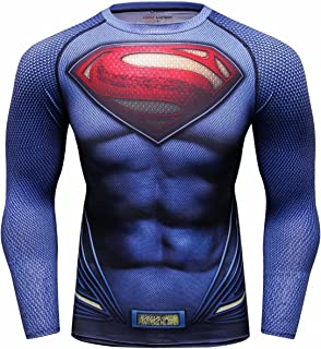 Red Plume Men's Film Super-Hero Series Compression Sports Shirt Skin Running Long Sleeve Tee