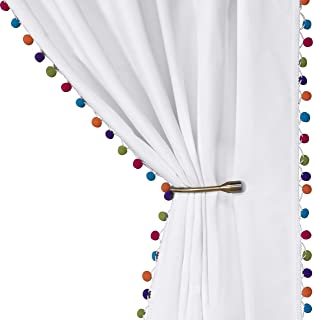 LORDTEX Multi Color Pom Pom Curtains for Kids Room -...