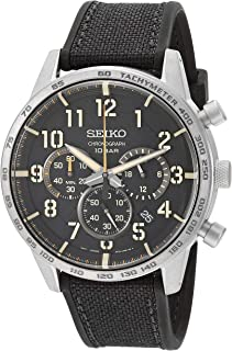 Men's Chronograph/Essentials Stainless Steel Japanese Quartz With Silicone Strap, Black (Model: SSB367)