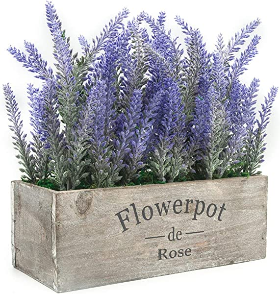 Velener Artificial Flower Potted Lavender Plant For Home Decor Wooden Tray