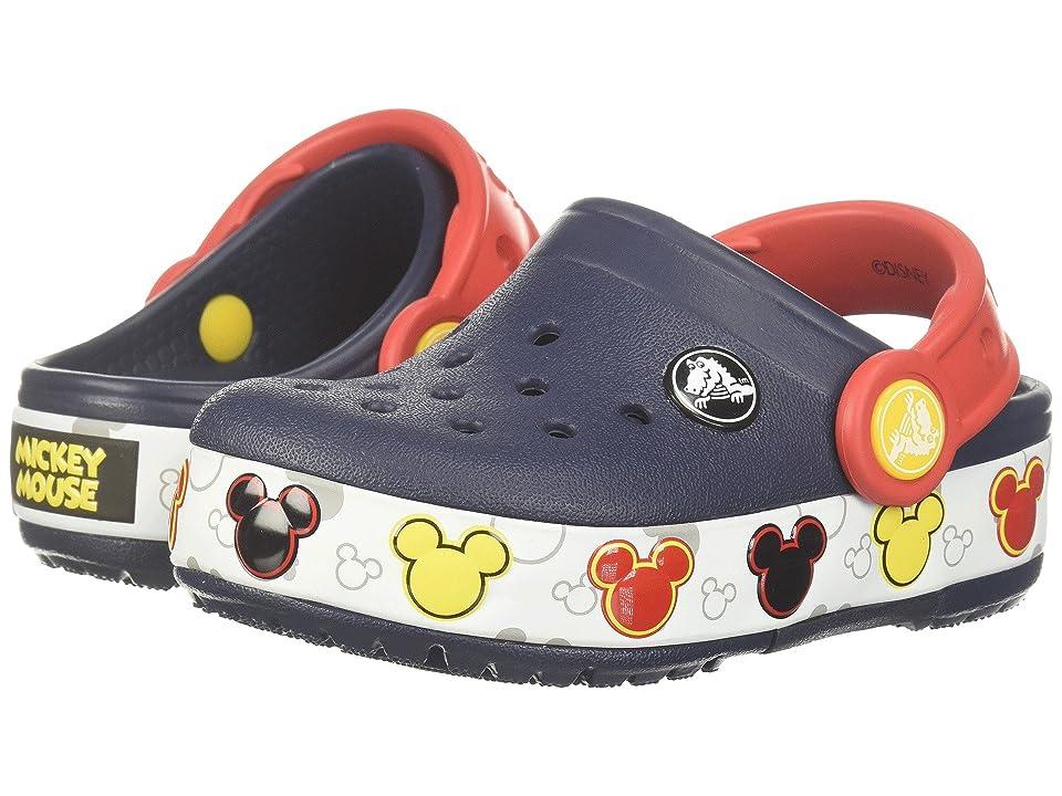 Crocs Kids Crocband Mickey Fun Lab Lights Clog (Toddler/Little Kid) (Navy) Kids Shoes