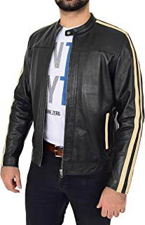 Mens Leather Biker Style Jacket with Racing Stripes Clyde Black