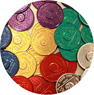 30 AA Tokens Medallions Chips Sobriety Bulk Lot Aluminum - 5 Each 1 2 3 6 9 Month & 24 Hour WEN Hours Alcoholics Anonymous