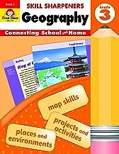 Evan-Moor Skill Sharpeners: Geography, Grade 3 Activity Book - Supplemental At-Home Resource Geography Skills Workbook