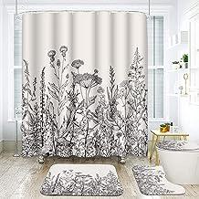 ArtSocket 4 Pcs Shower Curtain Set Floral Herbs Wild Flowers Vintage Meadow Retro Romantic Elegant with Non-Slip Rugs Toil...