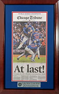 "Chicago Cubs 2016 World Series Champions Newspaper Display (w/ ""Cubs Win! Cubs Win! Plate) Mahogany Framed"