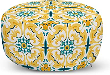 Ambesonne Victorian Ottoman Pouf, Swirling Botanical Inspired Motif Repetition, Decorative Soft Foot Rest with Removable Cove