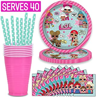 LOL Surprise Party Supplies, Serves 40 Bundle with - Plates, Napkins, Cups, Straws - Great Decorative Birthday Set with Diva, Queen Bee, Splash, Kitty and More! for L.O.L Collectors