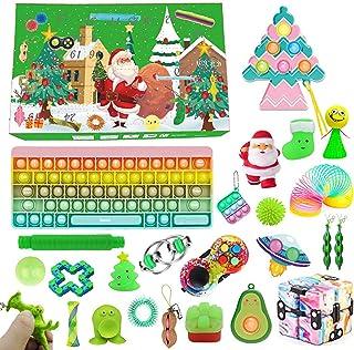 Fidget leksak adventskalender 2021 jul nedräkningskalender, pop bubbla stress ångestlindring fidget leksakspaket, jul över...