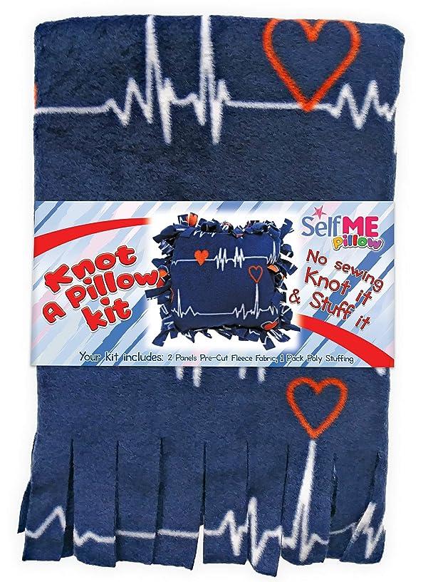 Pillow Craft kit, Make no sew Fleece Heartbeat Pillow, Knot it and Stuff it. SelfMe Kit.