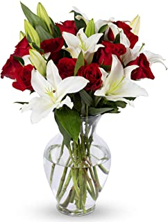 Benchmark Bouquets Red Roses & White Oriental Lilies with Vase – Fresh Flowers – Overnight Shipping & Delivery – Farm Fresh Flowers, White Flowers, Flower Arrangements, Bouquet of Flowers