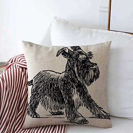 Throw Pillows Cover 18 X 18 Inches Dog Playful Schnauzer Puppy Animals Wildlife Nature Drawing Fur Silhouette Beard Shaggy Black Canine Cushion Case Cotton Linen For Fall Home Decor Home